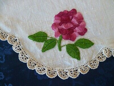 Vintage Hand Embroidered  Red Roses Large Doiley Cream Hand Crocheted Edge
