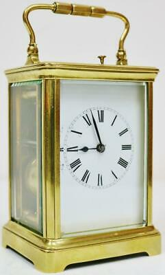 Antique 19thC French Brass & Glass 8 Day Gong Striking Repeater Carriage Clock