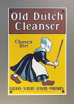 Ande Rooney OLD DUTCH CLEANSER Porcelain Enamel Sign 9 x 13, Very Good Condition