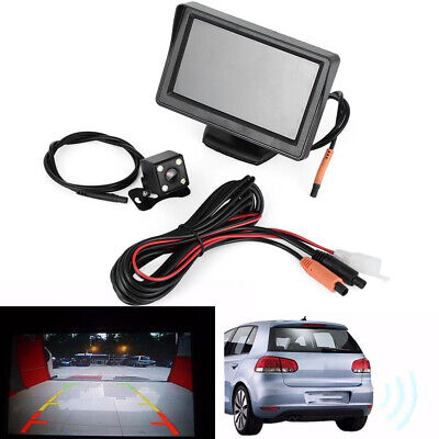 "TFT LCD 12V Parking  Rear View Monitor  Car Reverse 4.3""  Back Up Camera Kit"