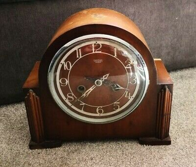 Smiths Enfield Wooden Mantle Clock With Key Spares Repair Art Deco Vintage