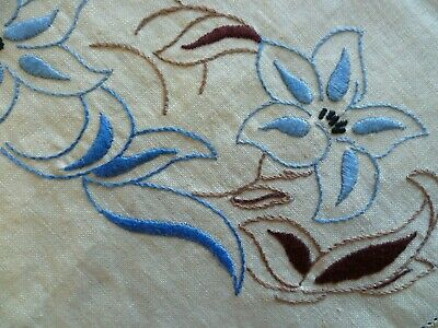 Vintage Hand Embroidered Duchess Set Large & 2 Small Doilies Blue Flora Design