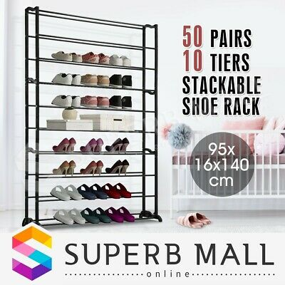 50 Pairs 10 Tiers Shoe Rack Stackable Storage Organizer Cabinet Shelf Stand