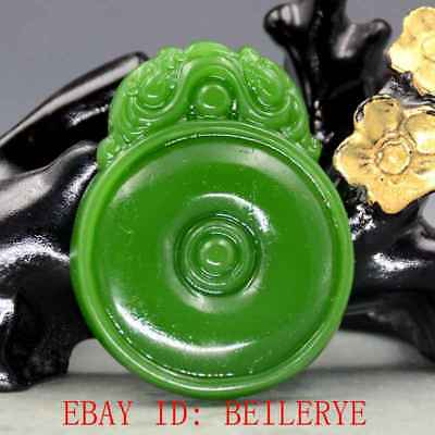 Chinese Natural Green Hetian Jasper Jade Hand Carved Lion Pendant 29
