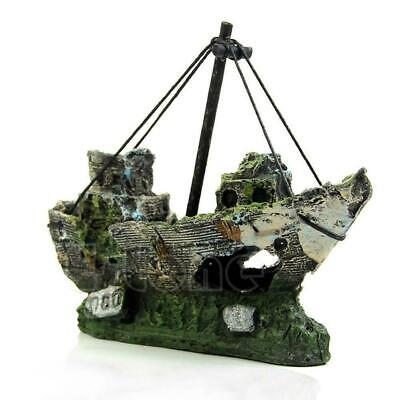 Aquarium Ornament Wreck Sailing Boat Sunk Ship Destroyer Fish Tank Cave Decors S