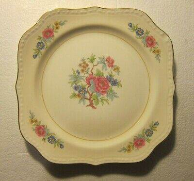 "Homer Laughlin Eggshell Georgian BOMBAY 8"" Square Salad Luncheon Plate Tree 1947"