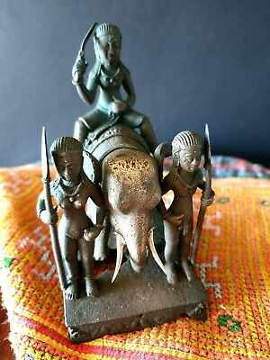Old Indian Bronze / Brass Elephant & three Natives Figure  …beautiful & unique c
