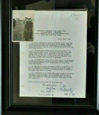 SIGNED / DATED WWII GERMAN KARL DONITZ LETTER of SURRENDER TO ALLIES and PHOTO
