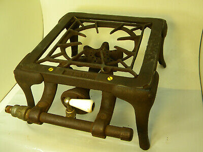 Vintage Odin Cast Iron Single Burner gas stove Early 1900's, Erie, Pa. TESTED!