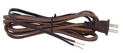 8 ft. ~ BROWN RAYON Fabric~ Parallel Lamp Cord Set With Molded Plug, 18/2 SPT-1