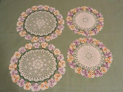 """Lot of 4 Hand Crochet Pansy Doilies 9"""" and 10 1/2"""""""