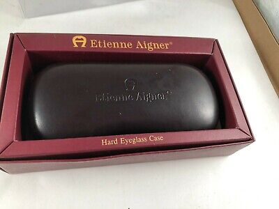 NIB ETIENNE AIGNER - BURGUNDY LEATHER Eyeglass Hard Case Holder