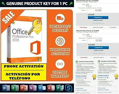 Microsoft Office Pro Plus 2016 1pc 32 /64 BITS