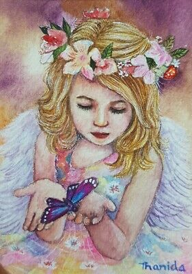 Girl Angle No.5 Original ACEO Painting Art Floral Vintage Gift Butterfly Wings