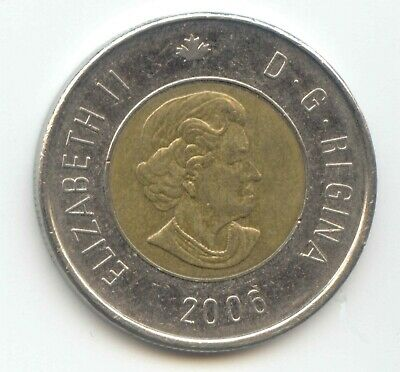 Canada 2006 Toonie Canadian $2 Dollars Twoney Two Dollar BOTTOM DATE  EXACT COIN