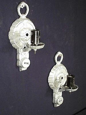 Pair Of Art Deco Silver Painted Metal Sconces