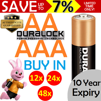 NEW GENUINE DURACELL 12x 24x 48x Alkaline AA AAA Batteries COPPERTOP DURALOCK