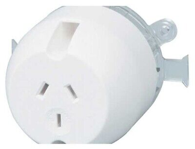 PDL SINGLE SURFACE SOCKET 250V 10A 3-Pin Standard, With Mounting Plate WHITE