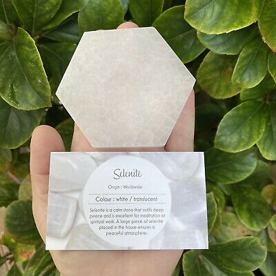 Hexagon Polished Selenite Plate - Charging Plate / Display Base - From Morocco