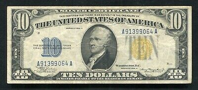 """Fr. 2309 1934-A $10 Ten Dollars """"North Africa"""" Silver Certificate Very Fine"""