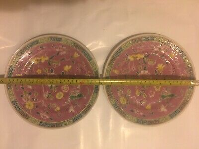 Antique Pair Chinese Export Porcelain Big Plates Hand Painted Pink Floral Design