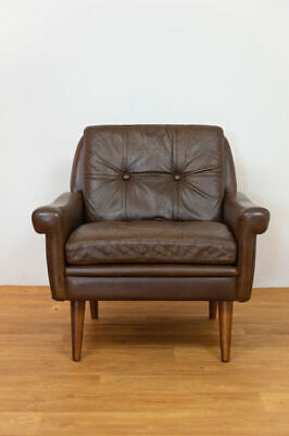 DANISH MID CENTURY SVEND SKIPPER LEATHER AND ROSEWOOD LOUNGE CHAIR 1960,s