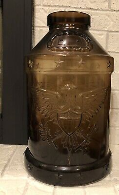 Vintage Brown GLASS JUG 5 GAL 1776 1976 BICENTENNIAL EAGLE - Coin Jar, Matches