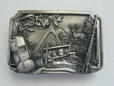 Vintage Pewter Belt Buckle Camping 1984 Siskiyou Buckle Co Tent Backpack
