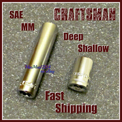 """CRAFTSMAN 1/4"""" Drive Shallow Deep Sockets 6 Point - SAE Metric - Any Size Tools"""