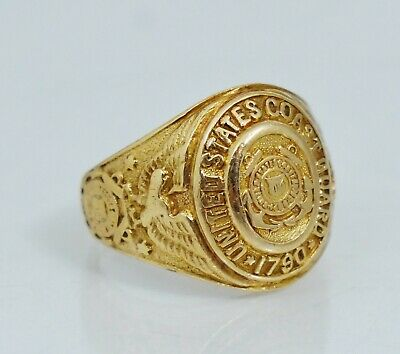 10K US Coast Guard Signet Ring Vintage USCG Yellow Gold Sz 5 1/4 United States