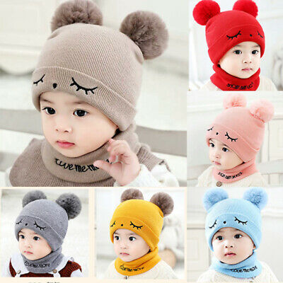 AU Baby Toddler Boy Girl Winter Warm Knitted Crochet Beanie Hat Cap Scarf Sets