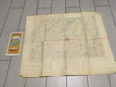 Vintage 1939 LINDSAY Kawartha ONTARIO Canada Topographic MILITARY FOLD OUT Map