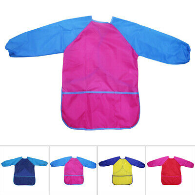 Kids Long Sleeve Apron Drawing Painting Waterproof Smock Bib Art Craft 4 Colors