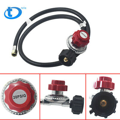 Adjustable Propane Gas Regulator BBQ Grill Burner Work Fryer 4ft Hose 20psi -CGA