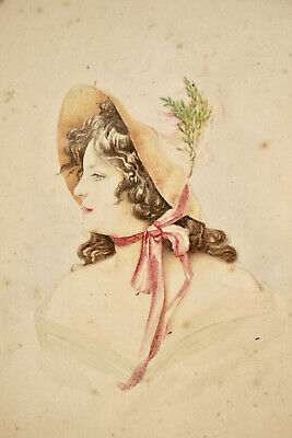 A Beautiful Edwardian Portrait Watercolour, Young Woman in Hat (3 of 3)