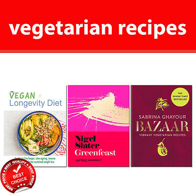 Vegetarian Recipe books set Bazaar Greenfeast Spring Summer Vegan Longevity Diet