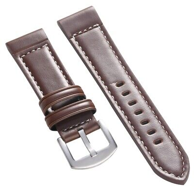 18/20/22/24mm Leather Strap Band Replacement Wristband Spring Bars Pin Buckle