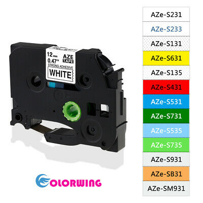 TZeS231 mix color Strong Adhesive Label tape Compatible Brother P Touch 12mm 1/2