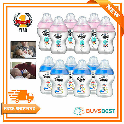 Tommee Tippee Boy/Girl Baby Feeding Bottles 6 pack 260ml Pink/Blue Slow Flow 0m+