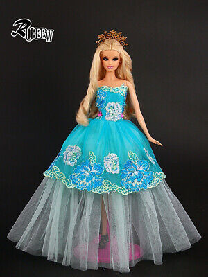 New Fashion clothes high quality blue yarn Dress for barbie Doll accessories