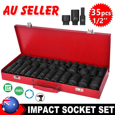 "AU 35pcs 1/2"" Drive Deep Impact Socket Tool Set Metric Garage Workshop Tools TW"