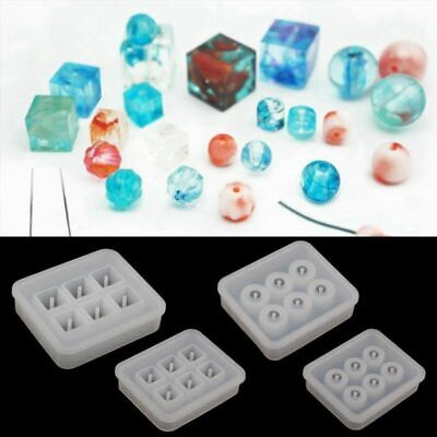 4Pcs Round Square Silicone Bead Mold Mould with Hanging Holes for Jewelry P D4J1
