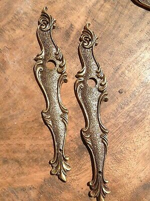 Vintage French Brass Bronze Door Push Finger Plates (pair)
