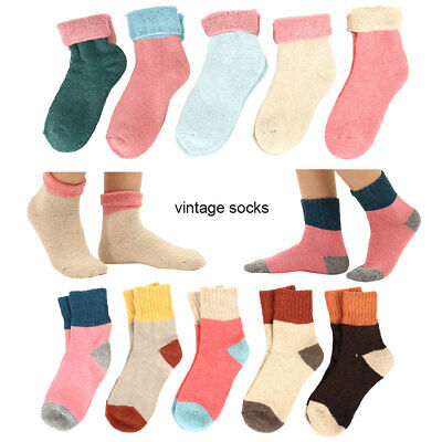 5Pair Women Girls Ladies Wool Short Sports Socks Coloured Soft Cashmere Solid