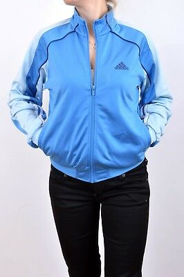 a1f2207eb43be ADIDAS GIACCA TUTA Donna Blu Cielo Lucido Sheen Poliestere Vintage 90s XS S