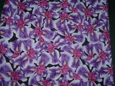 Vtg 90s Purple Orchids Iris Floral Flowers Doll Quilt Sew Fabric 54x43 #ff351A