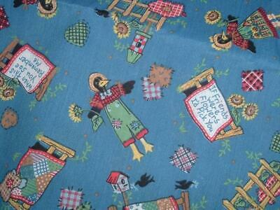 Vtg Farm Black Birds Friends Sunflower Fence Quilt Sew Patch Fabric 70x44#ff360