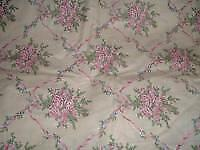 Vtg 90s Victorian Romantic Pink Rose Bouquet Ribbons Drapery Fabric 36x56BTY#pb7