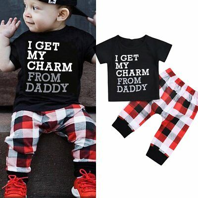2Pcs/Set Toddler Infant Kids Baby Boys Clothes T-shirt Tops+Plaid Pants Outfits