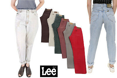 Vintage Lee Womens High Waisted Coloured Baggy Mom Jeans Grade A